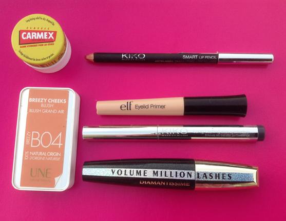 Make-up Saint-Valentin, blsuh Une, baume carmex, Mascara Volume millions de cils de L'oréal