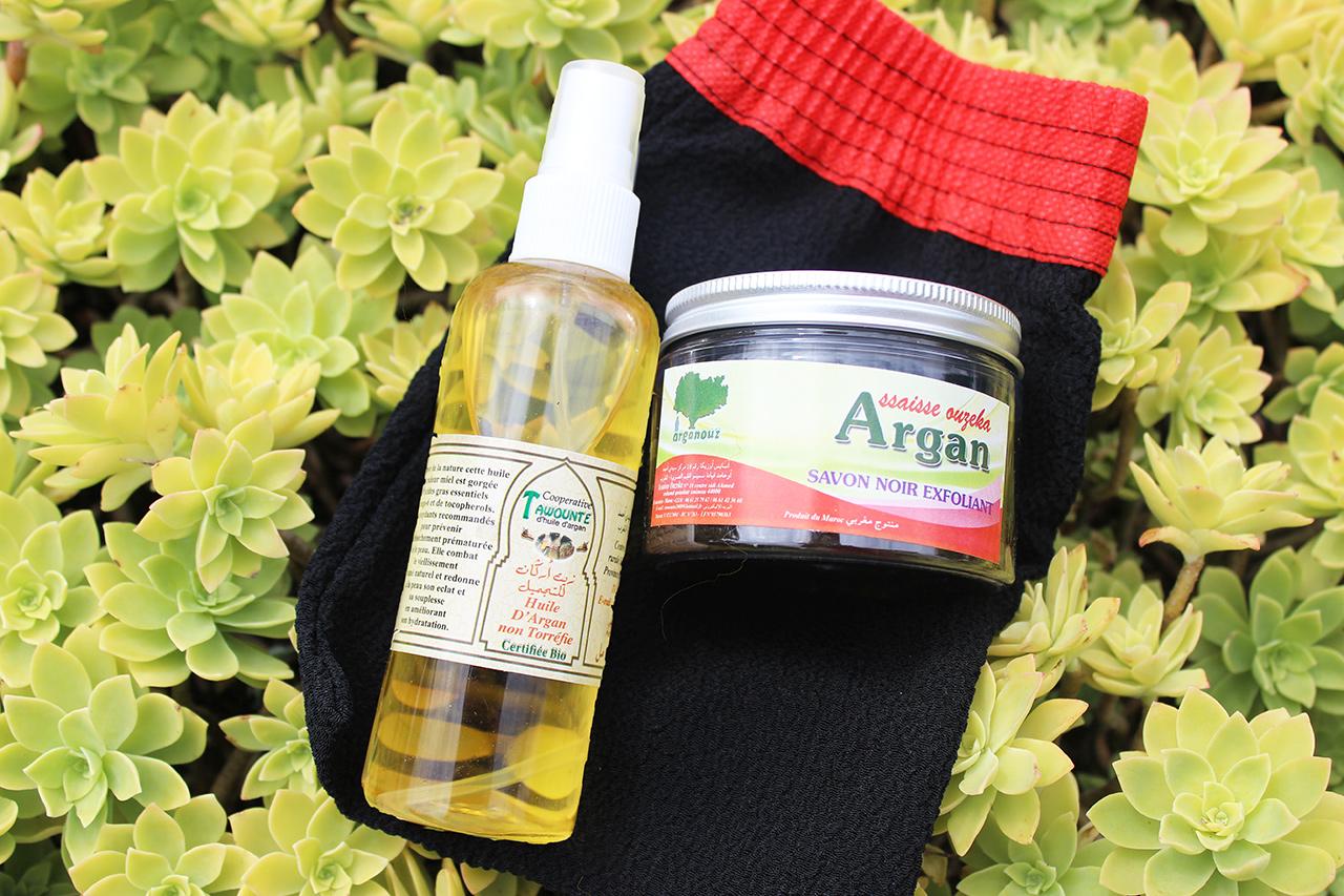 huile argan et savon noir