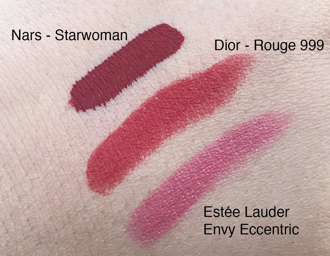 Froufrouandco-rouge-a-levre-dior-estee-lauder-nars-swatch